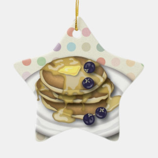 Pancakes With Syrup And Blueberries Ceramic Ornament