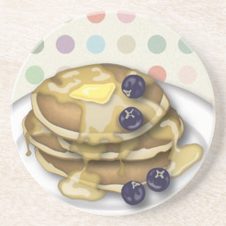 Pancakes With Syrup And Blueberries Drink Coaster