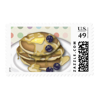 Pancakes With Syrup And Blueberries Postage