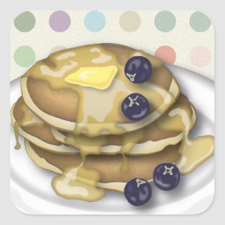 Pancakes With Syrup And Blueberries Square Sticker