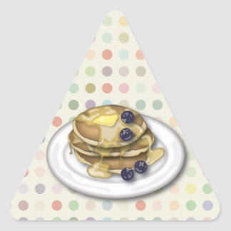 Pancakes With Syrup And Blueberries Triangle Sticker