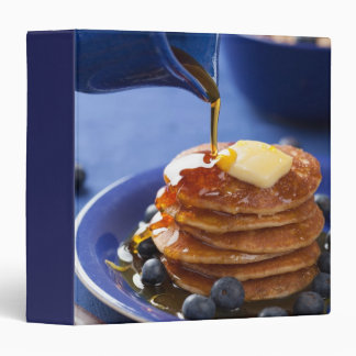 Pancakes with syrup and blueberry 3 ring binder