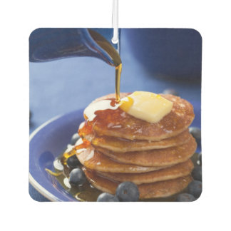 Pancakes with syrup and blueberry