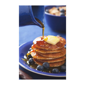 Pancakes with syrup and blueberry canvas print