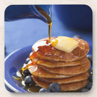 Pancakes with syrup and blueberry beverage coaster