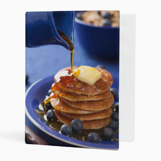Pancakes with syrup and blueberry mini binder