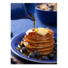 Pancakes with syrup and blueberry postcard