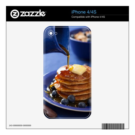 Pancakes with syrup and blueberry skin for iPhone 4S