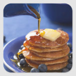 Pancakes with syrup and blueberry square sticker