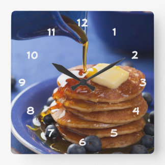 Pancakes with syrup and blueberry square wall clock