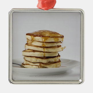 Pancakes with syrup square metal christmas ornament