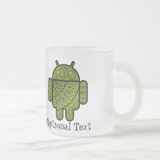 Pancho Doodle Character for Android™ robot Frosted Glass Coffee Mug