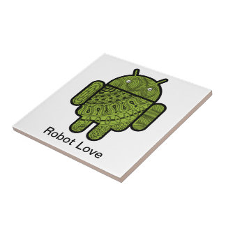Pancho Doodle Character for the Android™ robot Ceramic Tile