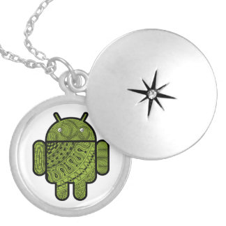 Pancho Doodle Character for the Android™ robot Silver Plated Necklace