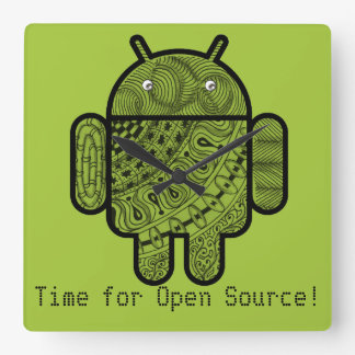 Pancho Doodle Character for the Android™ robot Square Wall Clock