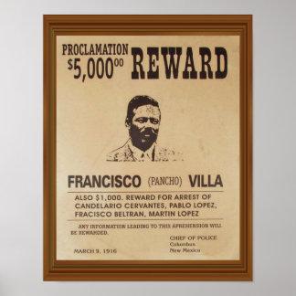 Pancho Villa Vintage Wanted Poster Reward