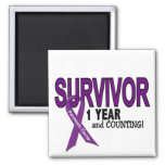 Pancreatic Cancer 1 YEAR SURVIVOR 2 Inch Square Magnet