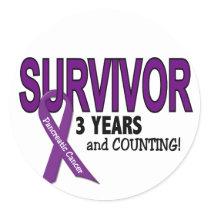 Pancreatic Cancer 3 YEAR SURVIVOR Classic Round Sticker