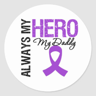 Pancreatic Cancer Always My Hero My Daddy Classic Round Sticker