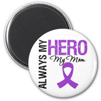 Pancreatic Cancer Always My Hero My Mom 2 Inch Round Magnet