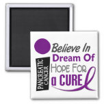 Pancreatic Cancer Awareness BELIEVE DREAM HOPE 2 Inch Square Magnet