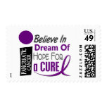Pancreatic Cancer Awareness BELIEVE DREAM HOPE Postage Stamps