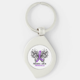 Pancreatic Cancer Awareness Butterfly Silver-Colored Swirl Metal Keychain