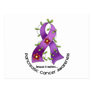 Pancreatic Cancer Awareness FLOWER RIBBON 1 Postcard