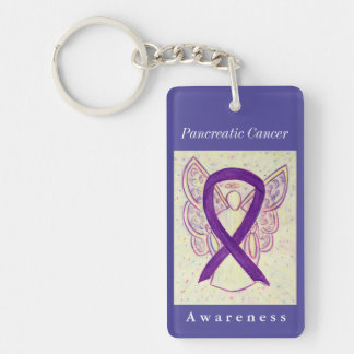 Pancreatic Cancer Awareness Ribbon Angel Key Chain