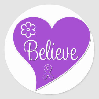 Pancreatic Cancer Believe Heart Classic Round Sticker
