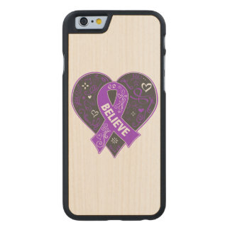 Pancreatic Cancer Believe Ribbon Heart Carved® Maple iPhone 6 Case