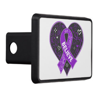 Pancreatic Cancer Believe Ribbon Heart Trailer Hitch Cover