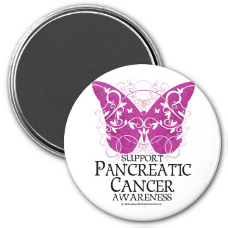 Pancreatic Cancer Butterfly 3 Inch Round Magnet