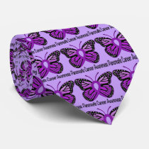 Pancreatic Cancer Butterfly Awareness Ribbon Tie