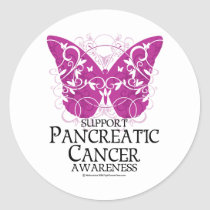 Pancreatic Cancer Butterfly Classic Round Sticker