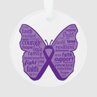 Pancreatic Cancer Butterfly Collage of Words