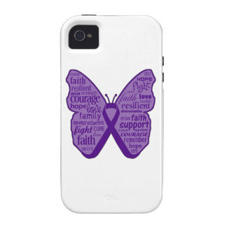 Pancreatic Cancer Butterfly Collage of Words Vibe iPhone 4 Covers