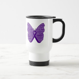 Pancreatic Cancer Butterfly Collage of Words Coffee Mugs
