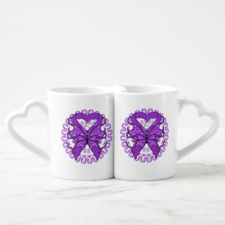 Pancreatic Cancer Butterfly Heart Ribbon Couple Mugs
