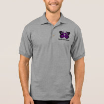 Pancreatic Cancer Butterfly Polo Shirt