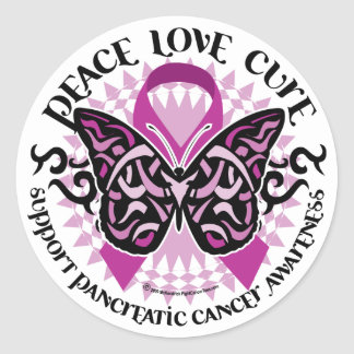 Pancreatic Cancer Butterfly Tribal 2 Classic Round Sticker
