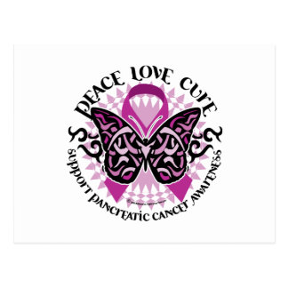 Pancreatic Cancer Butterfly Tribal 2 Post Cards