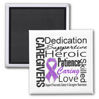 Pancreatic Cancer Caregivers Collage 2 Inch Square Magnet