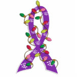 Pancreatic Cancer Christmas Lights Ribbon Cut Out