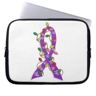 Pancreatic Cancer Christmas Lights Ribbon Laptop Computer Sleeves