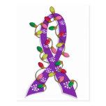 Pancreatic Cancer Christmas Lights Ribbon Postcard