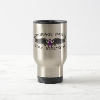 Pancreatic Cancer Courage Faith Wings Travel Mug