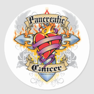 Pancreatic Cancer Cross & Heart Classic Round Sticker