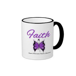 Pancreatic Cancer Faith Butterfly Ribbon Coffee Mugs