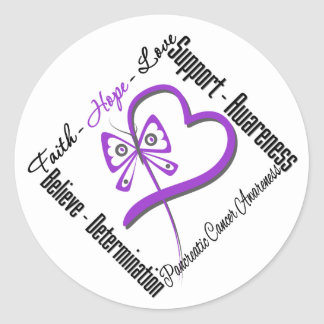 Pancreatic Cancer Faith Hope Love Butterfly Stickers